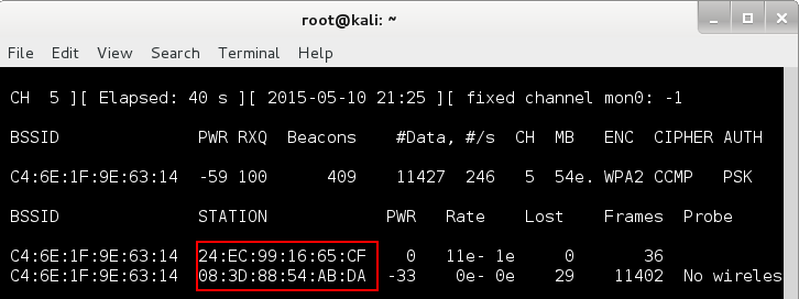 Wireless hacking for the masses - airodump output